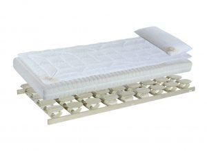 Matratzen und Tellerlattenrost kombiniert mit Auflagen und Kissen ergeben das Relax 2000 Bettsystem